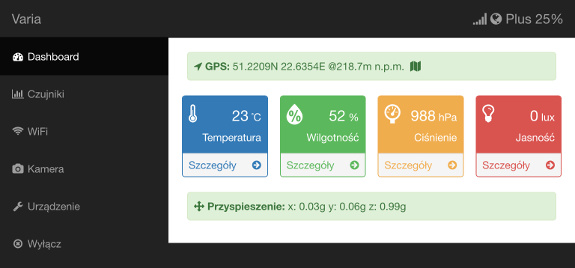 Portal urządzenia klasy Varia (dashboard) dostępny przez WiFi (iPad)