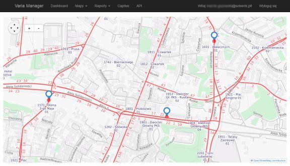 Varia Manager (mapy) dostępny przez przeglądarkę www